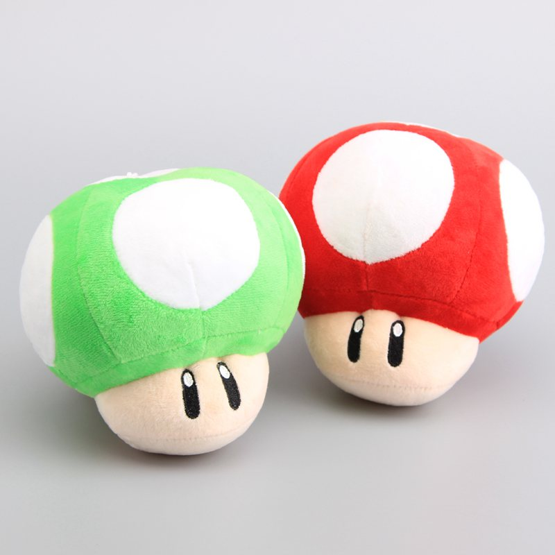 "Hard-Working 2 Colors Super Mario Bros Mushrooms Green & Red Plush Dolls Cute Stuffed Toys 6"" 15 Cm"