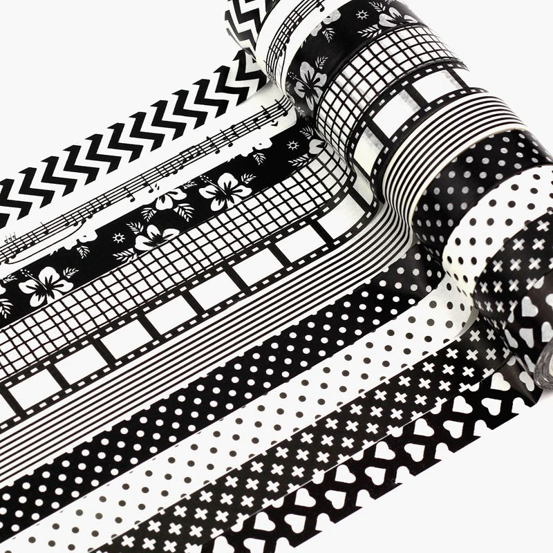 High Quality 10pcs/lot Black And White Washi Tape Set DIY Decorative Scrapbooking Planner Adhesive Masking Tapes School Supply