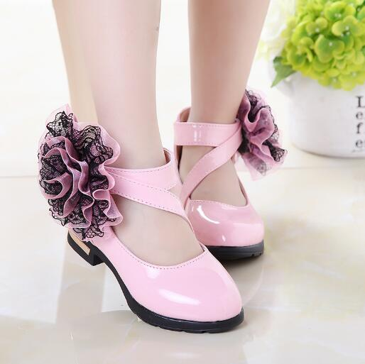 2018 Spring Autumn Baby Girls Leather shoes Fashion Flowers Princess Shoes Roman Style Children Kids Party shoes