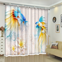3D Blackout Curtains Goldfish & Flowers Landscape Painting Pattern Thicken Washable Polyester Bedroom for Living Room