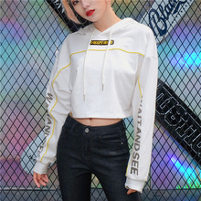 Liva Girl Letter Embroidery Side Striped Print Female Bts Sweatshirt Crop Hoodies Fashion Long Sleeve Hooded Hoody Ladies Coats