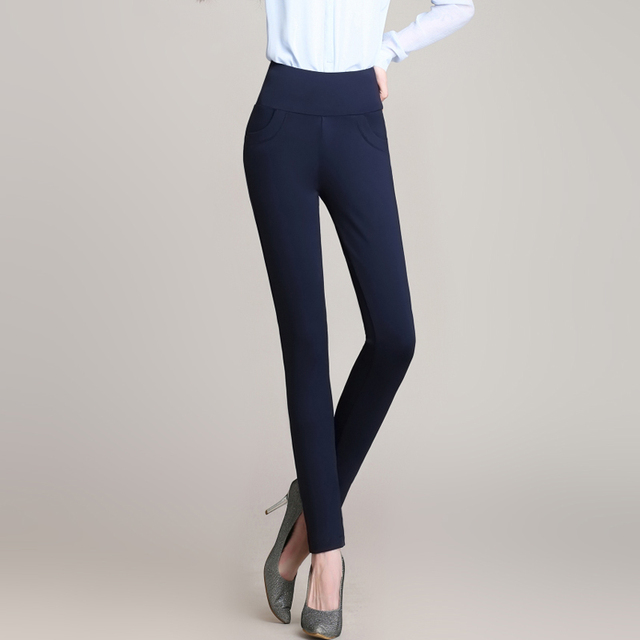 941610193ea81 Hot Sale Casual Women 95% Polyester and 5% Spandex Elastic Waist Solid  Color Office OL Work Pants Summer Slim Lady Trousers 6XL