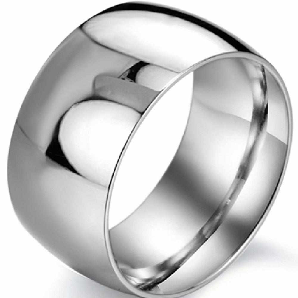 12MM Size 7-15 Polished Stainless Steel Classical Simple Ring Band Wedding Engagement School Biker Anniversary Cocktail