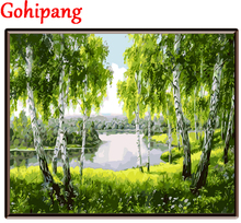Sale Frame Oil Painting By Numbers DIY picture green river drawing on canvas oil painting by hand coloring landscape