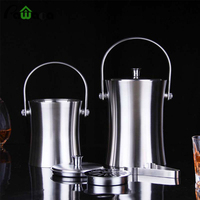 Stainless steel Ice Bucket Double Walled 1/2 L Ice Bucket with Tongs,Lid Wine Ice Cooler Kitchen Tools Bar Accessories