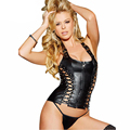 Shape Waist Corset Sexy Leather Lingerie Seduce Exotic Black Lace up Women PVC Corset Plus Size W850501