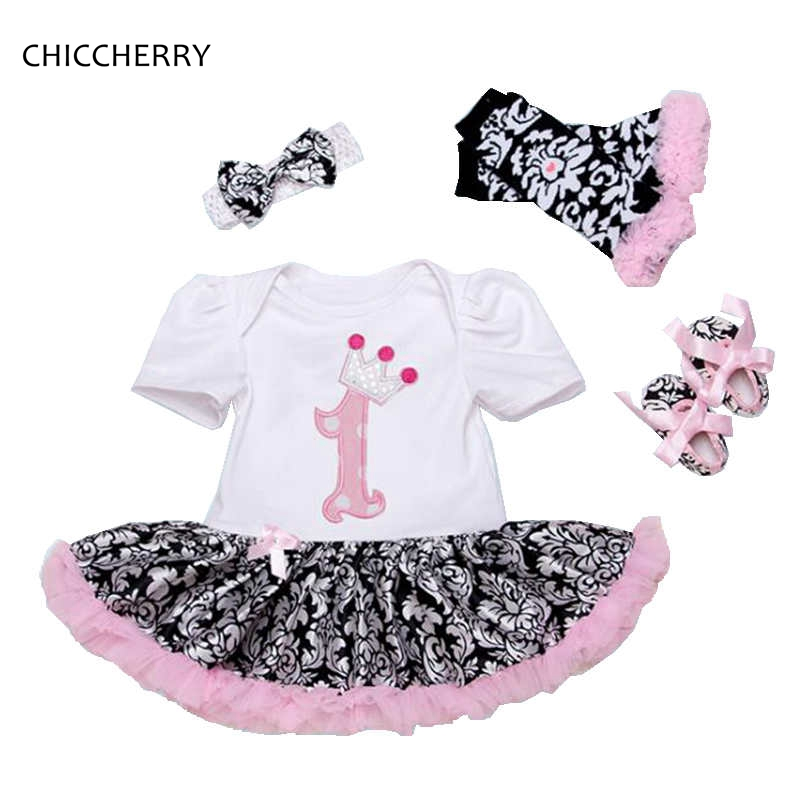 1 Year Birthday Dress Headband Crib Shoes Leg Warmers Baby Girl Summer Clothes Sets Infant Clothing Toddler Birthday Outfits