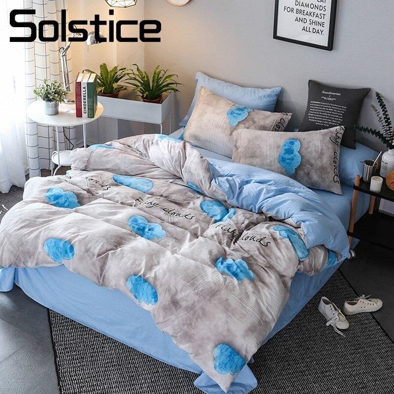 Solstice Home Textile Gray Blue Cloud Duvet Cover Pillowcase Flat Sheet Kid Teen Bedding Set Boy Girl Bed Linen King Twin 3/4Pcs