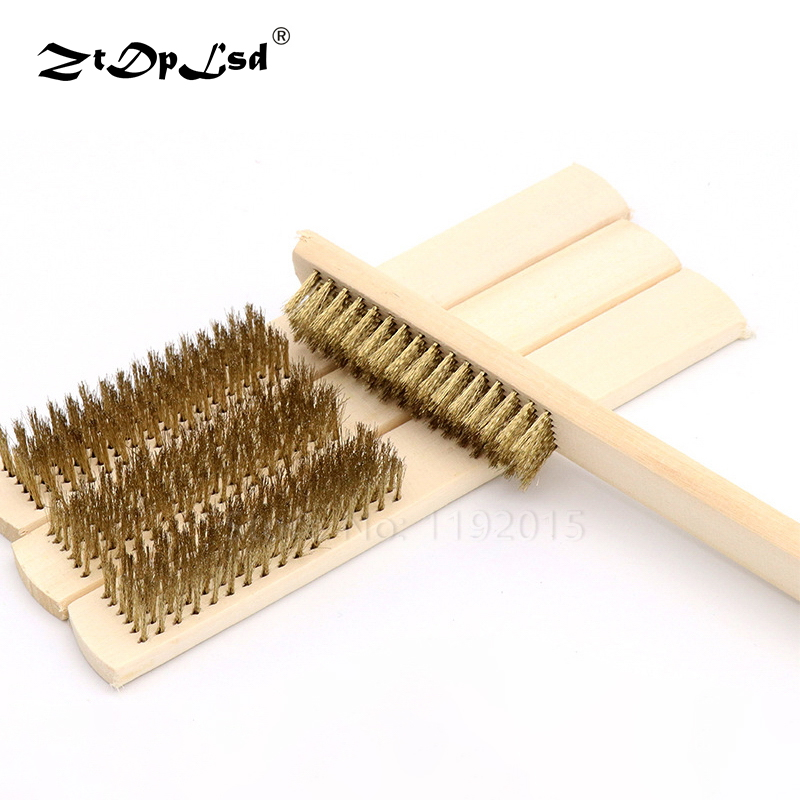 1Pcs 6x16 Wood Handle Brass Wire Copper Brush For Industrial Devices Surface/inner Polishing Grinding Cleaning Row Hand Tool