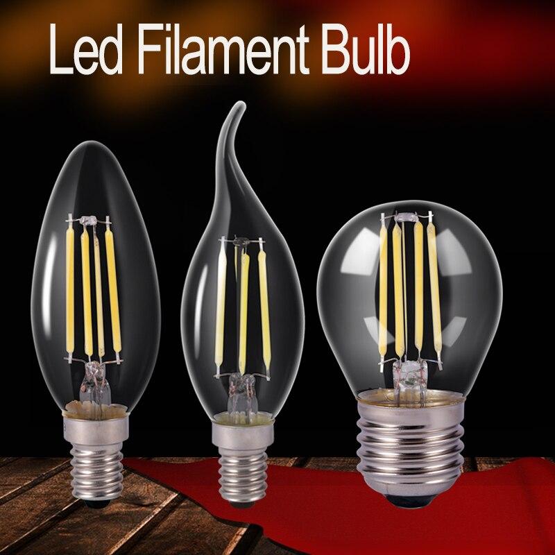 E27 220V led bulbs light 2w 4w 6w 8w Filament Lamp Led lights bulb LED Glass Ball lamp Edison lamps Retro LEDs for Decoration