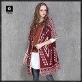 2016 Mulheres Casaco Cardigan Sweater Outono Fringe Código Sub Estilo Nacional Jacquard Camisola Casaco de Malha Longo Casaco de Ponto Aberto