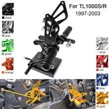 CNC Aluminum Adjustable Rearsets Foot Pegs For Suzuki TL1000S TL1000R 1997 1998 1999 2000 2001 2002 2003