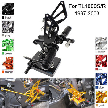 CNC Aluminum Adjustable Rearsets Foot Pegs For Suzuki TL1000S TL1000R 1997 1998 1999 2000 2001 2002 2003 for suzuki tl1000s tl1000 s with logo cnc adjustable folding expandable motorcycle brake lever 1997 1998 1999 2000 2001