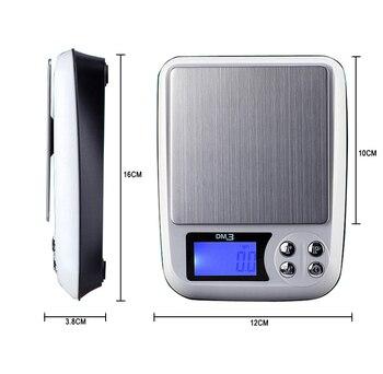 Báscula electrónica de precisión 500g/0,01g báscula de cocina báscula Digital de bolsillo...
