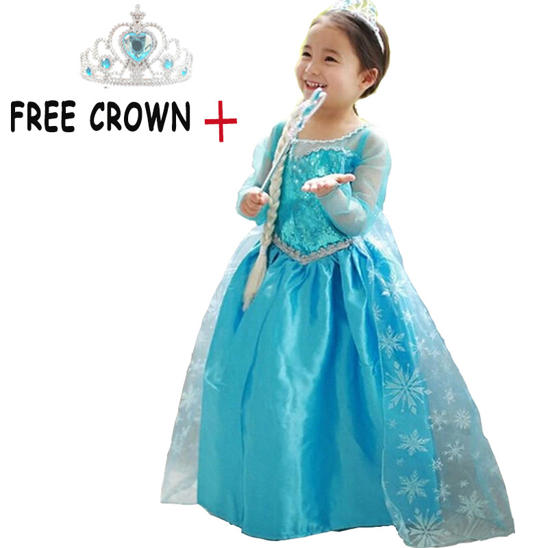Princess Dresses & Crown for Girls Elsa Costumes Anna Dress for Fancy Party Cosplay Costume for Kid's Carnival Children Clothes
