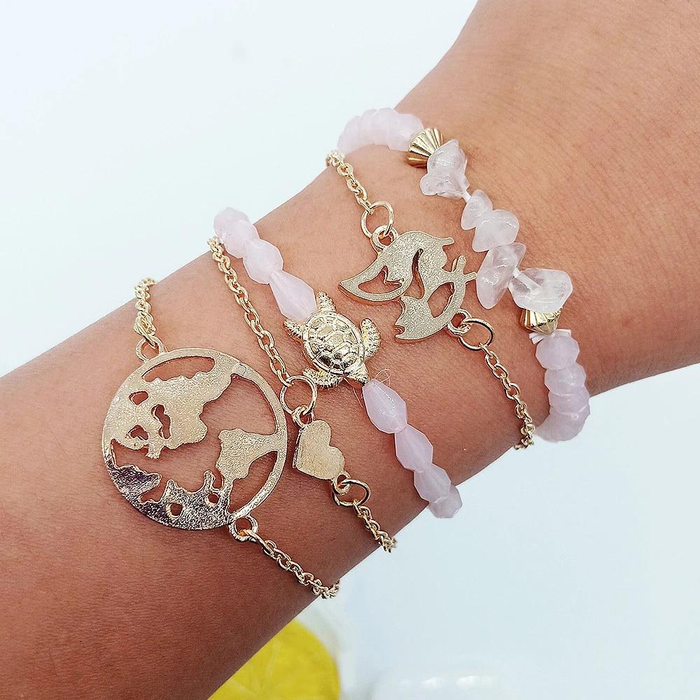 Rurah 5Pcs Bracelet Set Women Map Sea Turtle Love Bracelet Turtle Heart Map Pendant Bracelet Wrist Chain Jewelry Accessories
