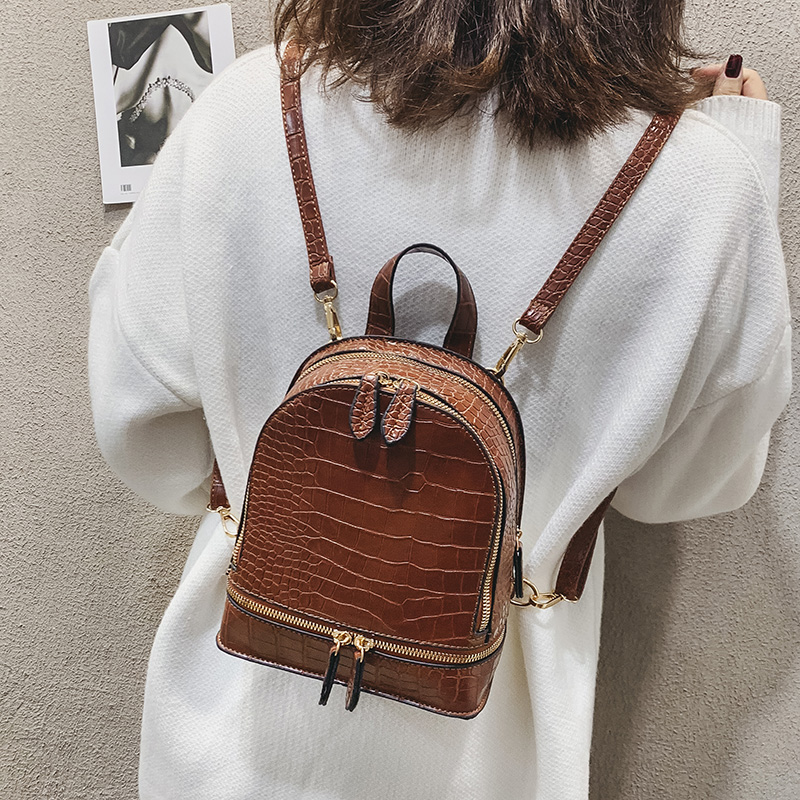 Vintage Crocodile Pattern PU Leather Small Backpacks For Women Fashion Zipper Mini Back Pack Girls' Backpack Female Shoulder Bag