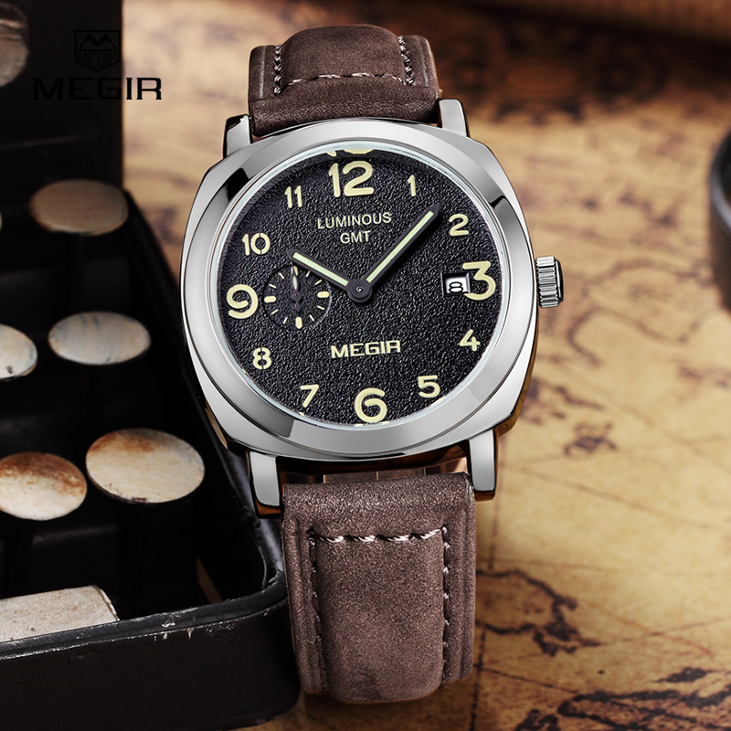 MEGIR fashion military leather quartz watch men casual business waterproof luminous analog wristwatch man free shipping 1046