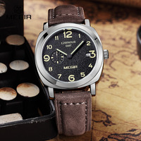 MEGIR Fashion Military Leather Quartz Watch Men Casual Business Waterproof Luminous Analog Wristwatch Man Free Shipping