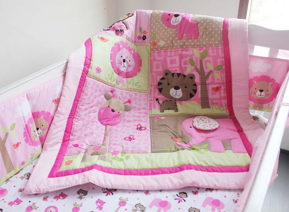 Promotion! 7pcs Embroidery Cot Baby Bedding Set Bed Linen Crib Bedding Sets ,include (bumpers+duvet+bed cover+bed skirt)