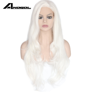 Image 2 - Anogol Long Natural Wave High Temperature Fiber Side Part White Synthetic Lace Front Wig For Women