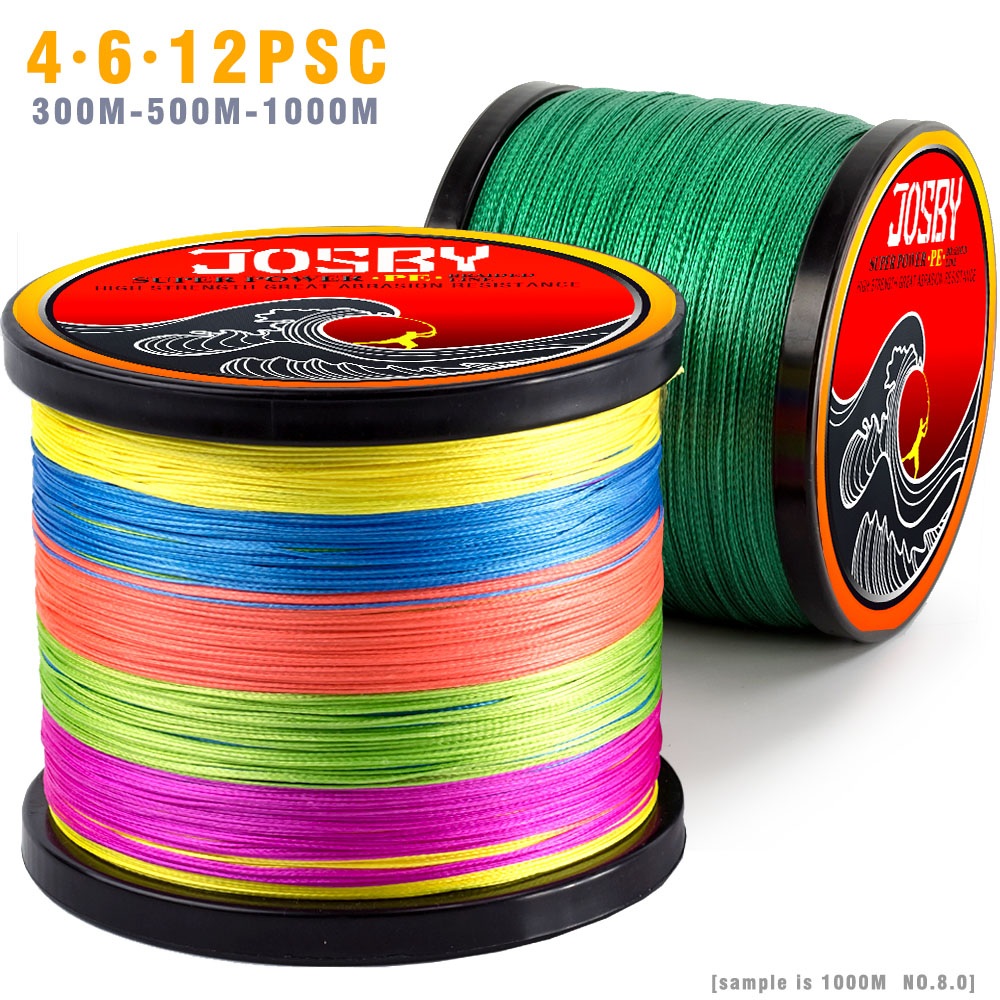 JOSBY 12PCS 300M 500M1000M Braided Fishing Line Multifilament PE 4&8 Strands Fishing Cord 12LB-80LB Strong Japan Technology