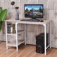 Goplus Computer Desk PC Laptop Table Workstation Study Writing With Shelves Home Office Desk Modern Furniture
