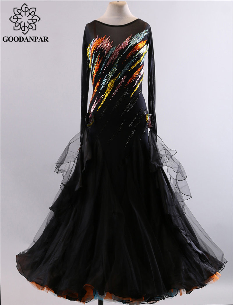 GOODANPAR noir Sexy dos nu strass poignet ruban dentelle Standard robe de salon dames moderne danse vêtements valse Costume