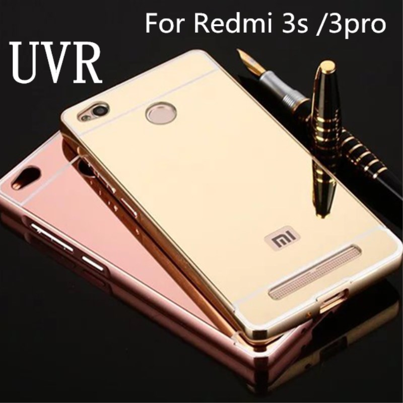 UVR For Xiaomi Redmi 3Pro Case Mirror Back Cover Aluminum Metal Frame Phone Bag Cases Coque For Redmi 3S Cover 3 Pro S