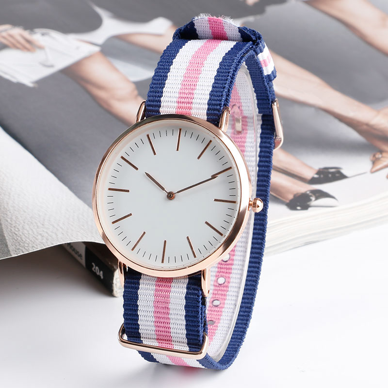 2018 Fashion Minimalist Student Casual Simple Girl Wristwatch Quartz Blue&White&Pink Nato Band Women Watches Gifts Lady Clock