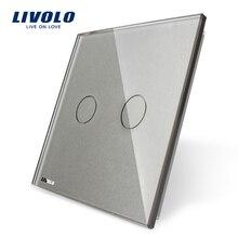 Livolo роскошное белое жемчужное Хрустальное стекло, стандарт ЕС, одна стеклянная панель для 2 банд настенный сенсорный выключатель, VL-C7-C2-11(4 цвета