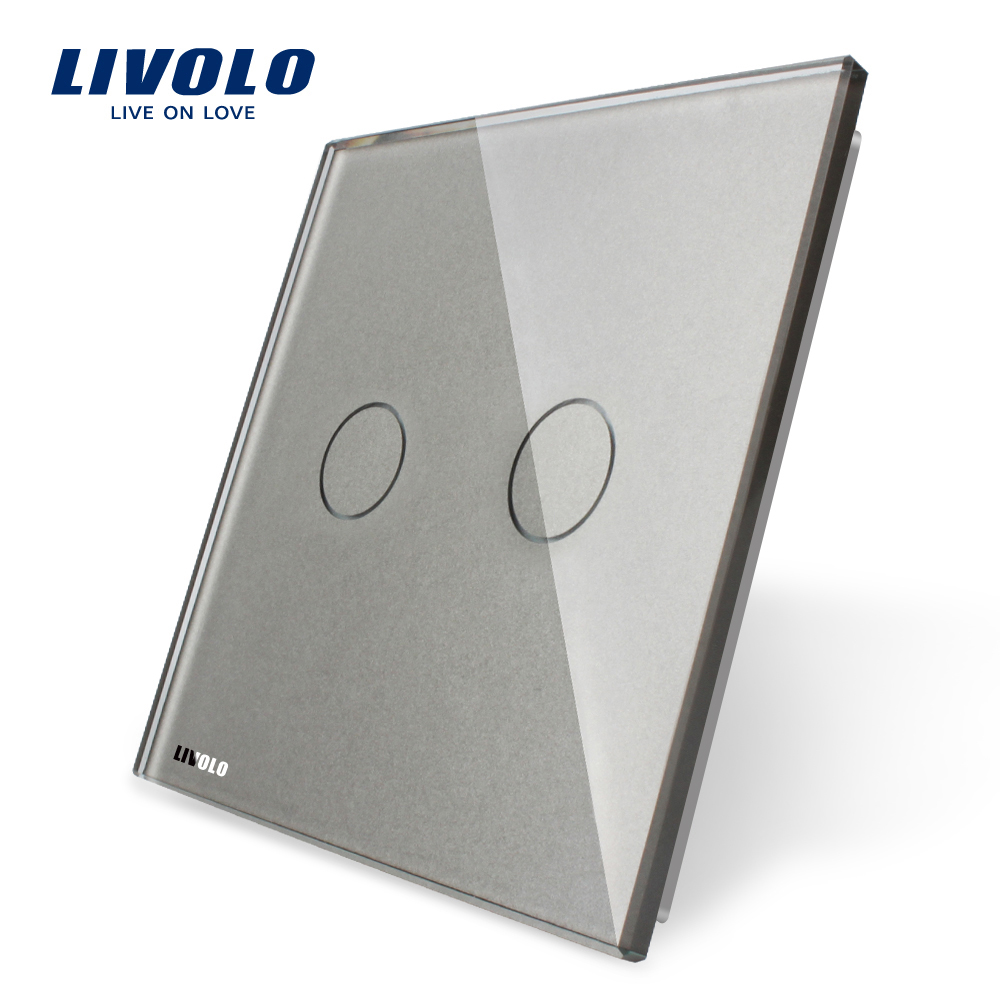 Livolo Luxury White Pearl Crystal Glass,EU standard,Single Glass Panel For 2Gang Switch,VL-C7-C2-11