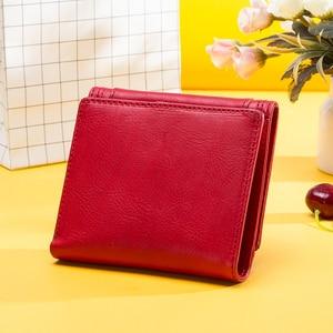 Image 5 - 100% Genuine Leather Women Wallets Short Coin Purse Card Holder Female Money Bag High Quality Mini Walet Small Carteira Feminina