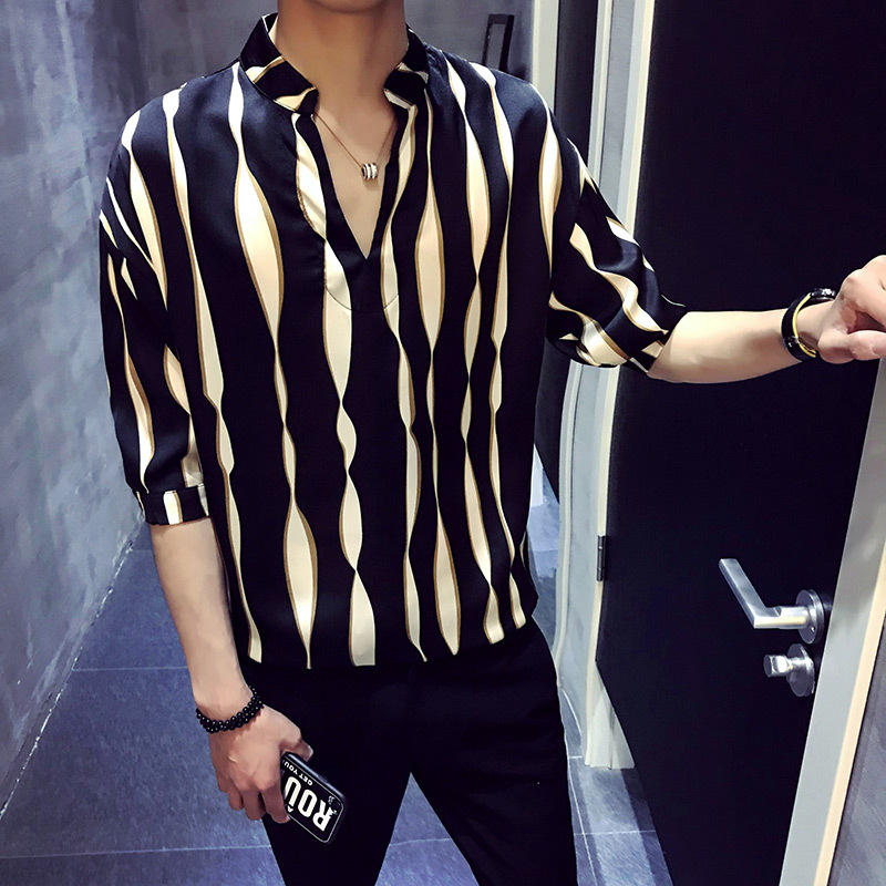 Stripe pullover shirt men herren hemd camisa masculina shirt homme korean fashion stylish designer shirt men 2018