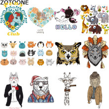 Iron on patches for clothes Cartoon animal owl lion giraffe heat transfer stickers diy patch applique  vinyl D