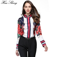 Spring Autumn Fashion Women Shirts Long Sleeve Floral Star Printed Chiffon Blouse Tops OL Lady Office