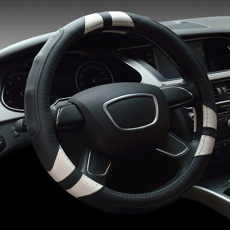 GNUPME New Breatable Leather Car Steering Wheel Cover Anti-slip Steering Cover Car Accessories Universal Steering Wheel Covers