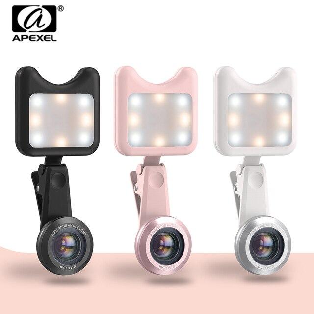 APEXEL LED Selfie Light Fill-in light +0.36X Wide Angle Lens + 15X Macro Lens Kit For iPhone Samsung phones