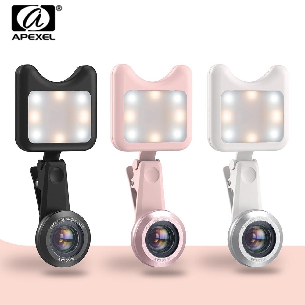 APEXEL LED Selfie Lumière Remplir-dans la lumière + 0.36X Large Angle Lens + 15X Macro Lentille Kit Pour iPhone Samsung téléphones