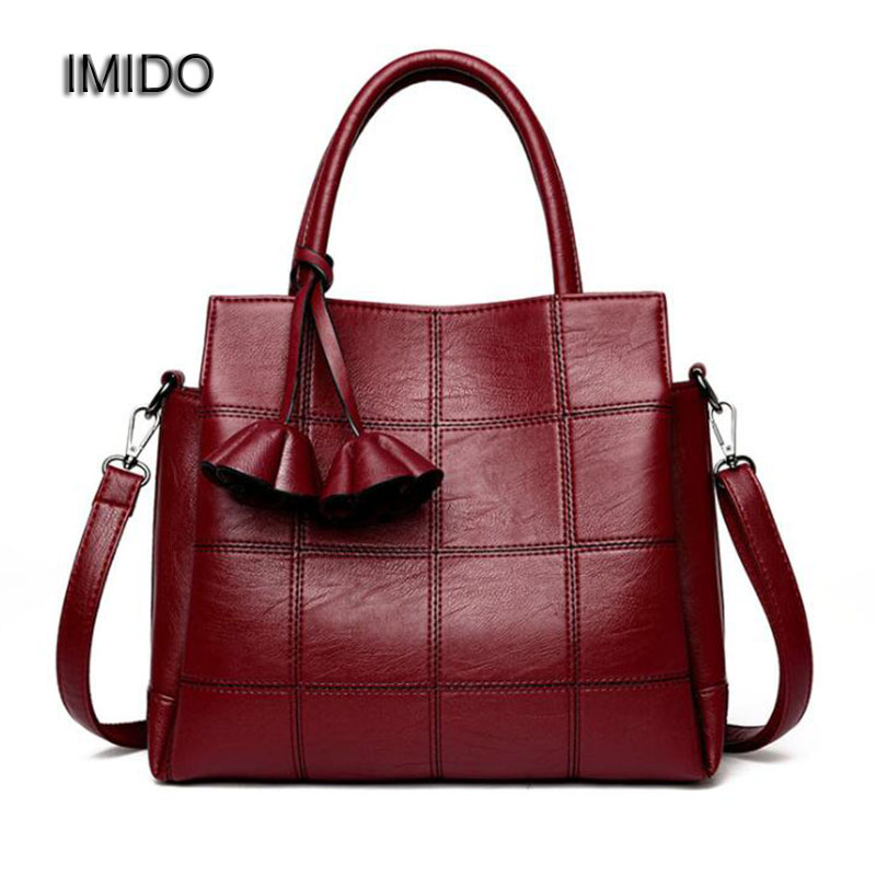 IMIDO 2017 Brand Designer Women Handbags PU Leather Bags Ladies Bag Tote Crossbody Bags High Quality Blue Black Red bolsa HDG023 2017 women handbags ladies leather commuter office tote bag high quality women bag
