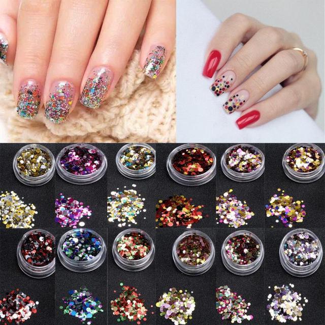 1 Doos Glanzende Ronde Pailletten Kleurrijke Nail Art Glitter Tips