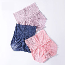 Women Underwear Plus Size Sexy Panties Pink Transparent Lace Seamless High Waist Abdomen Briefs