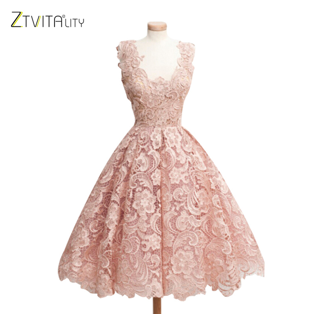 ZTVitality Women Dresses 2018 Hot Sale Solid Fashion Lace Dress A-Line Sleeveless Sexy Expansion Dress Elegant Party Dresses