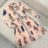 knee length dress 2018 spring autumn long sleeve dress women fashion letter print dress