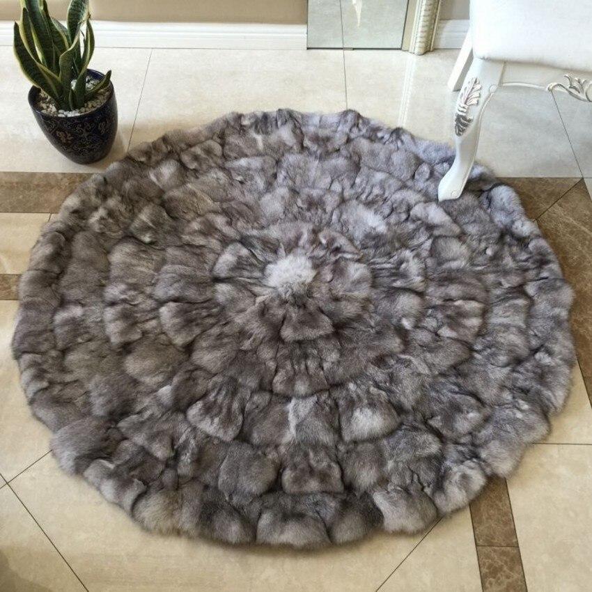100% véritable tapis de patchwork de fourrure de renard, rond en forme de réel pour tapis de fourrure 150*150 cm pour la tapisserie d'ameublement de meubles, coussin de sear de fourrure