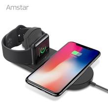 Amstar cargador inalámbrico Qi para el reloj de Apple 5/4/3/2/Airpower 10W rápido almohadilla de carga inalámbrica para iPhone 11 Pro XS Max XR 8X8 Plus