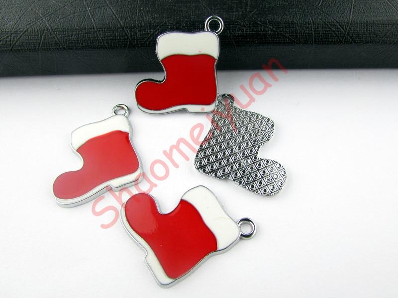 ECM05 Mix Color 20Pcs Alloy Metal Enamel Christmas Gift Sock Charms Pendants 27X24mm