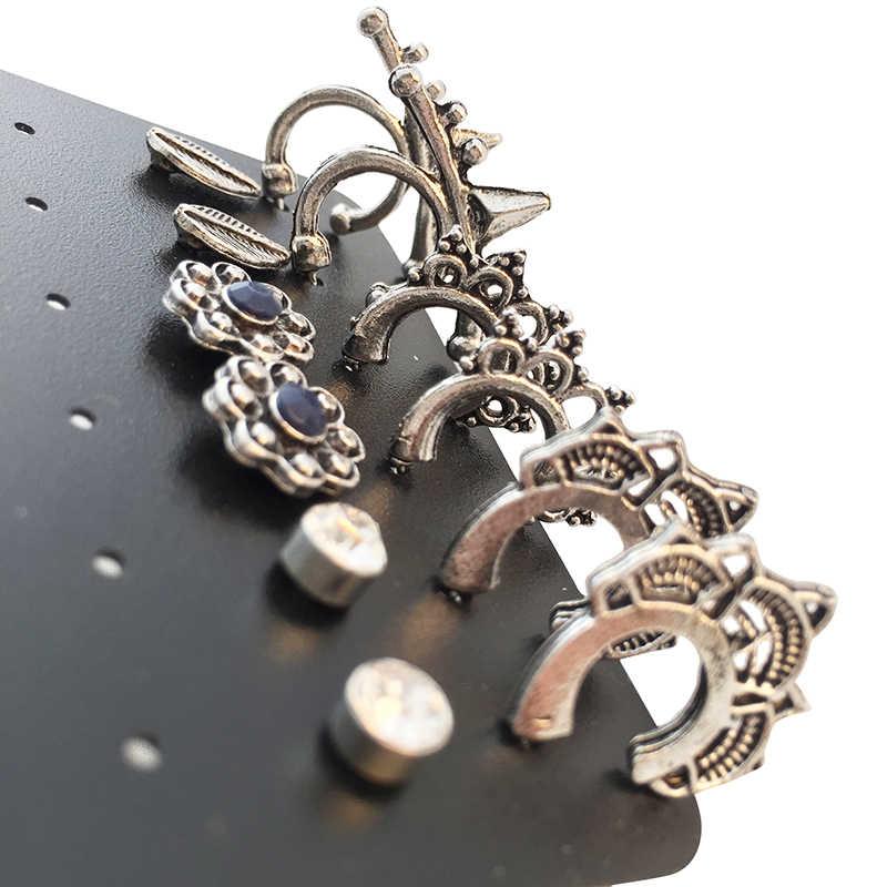 Marte & joven 6ペア/ロットアンティークシルバーc形状パンクスタイルイヤリングセット用女性ミックスフラワー/葉耳スタッドジュエリーアクセサリー