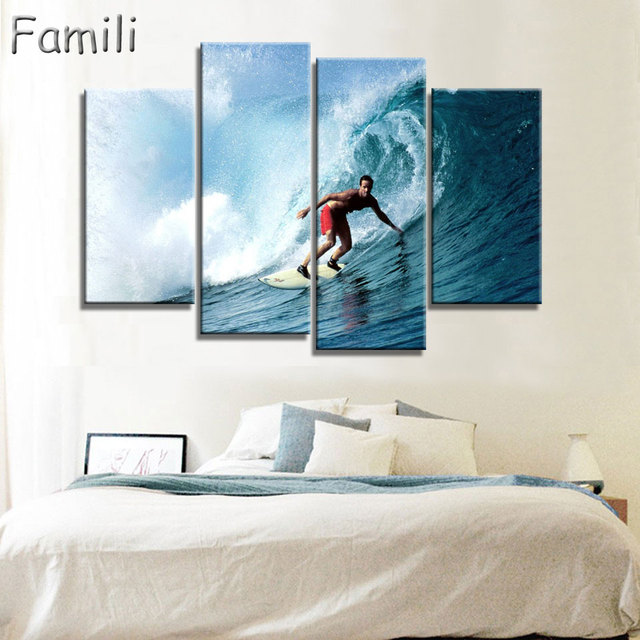 4 Panels Unframed Canvas Photo Prints Sea Surfing Wall Art Picture ...