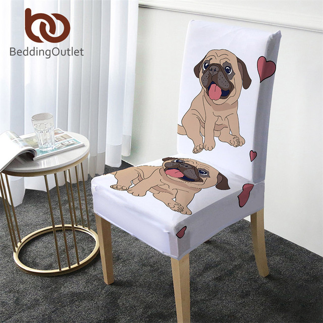 BeddingOutlet Hippie Pug Covers for Chair Cartoon Spandex Stretch Slipcover Cute Bulldog Seat Case Decoration capa de cadeira